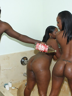 Black ghetto hoes with magnificent asses love FFM threesomes