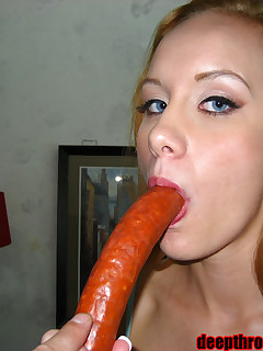 Leah shows how deep she can swallow a cock