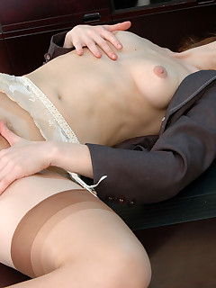 Hot sec in barely visible stockings revealing her skills in pussy-fingering