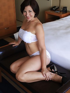 Rebecca In Sexy White Lingerie and Heels
