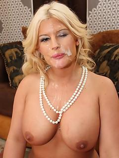 Busty Blonde Julie Cash catching a facial cum shot