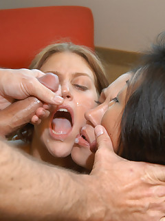 3 hotties voraciously attack cock and share facial