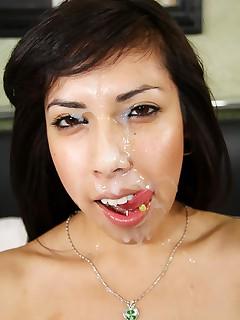 Vee Silva taking first ever filmed facial cum shot