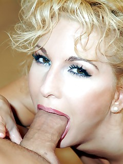 Gorgeous blond sucks cock gets fucked and facialed