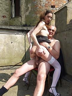 Skinny British whore shagged by a horny senior office clerk