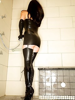 Latex stockings, dress, gloves and anal squirting from my gaping arse