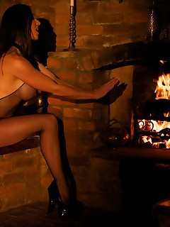 Miss Hybrid Fireside toy fun in a crothless fishnet bodystocking