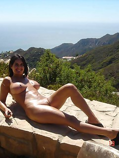 Busty brunette housewife posing naked outdoors Busty wife naked in Bali