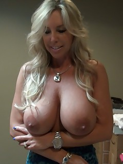 Blonde wife with big tits suck cock at home and swallow huge load of cum
