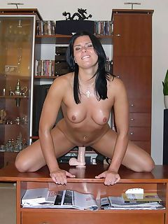 Sexy brunette MILF in the nude loving her dildo play in.. MILF loves her dildo