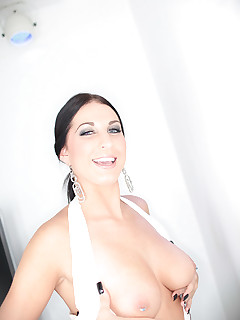 busty milf babe bares her tight twat and swallows cock