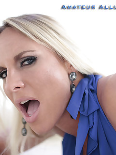 busty blonde beauty sucks cock and swallows semen