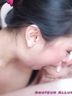 naughty brunette asian swallows cock and eats huge load of jizz