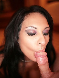 sultry exotic beauty blows cock swallows cum