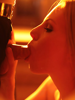 stunning blonde Aimee Addison poses and blows cock to swallow cum