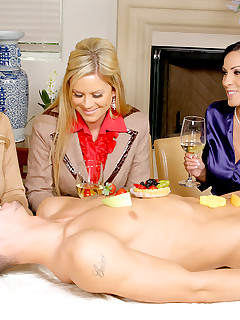 Amazing masterating  alana and her 3 smokin milfs invite their boy toy over to tease strip and fuck on the table in..
