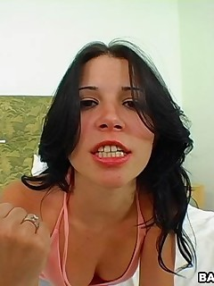 Rebeca eve used her pantie to mess around with his cock
