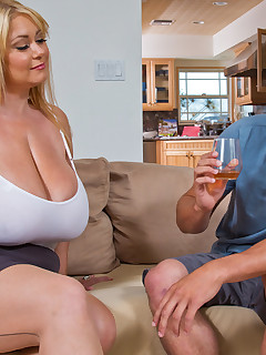 Busty MILF fucks her sons younger friend.
