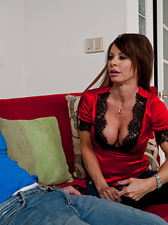 Horny milf Jenla Moore fucks and sucks  a hard cock.